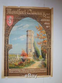 Rare affiche ancienne tourisme Montford Lamaury chateau 1920 par Delville