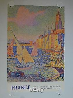 Rare affiche ancienne tourisme Saint Tropez cote d Azur riviera par Signac