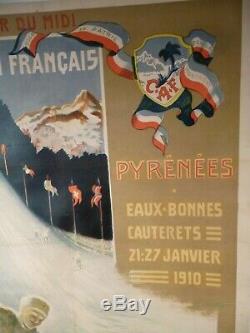 Rare affiche originale litho pour CONCOURS INTERNATIONAL DE SKI en 1910
