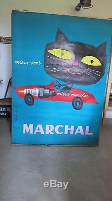 Rare affiche originale marchal jean colin bougie garage no plaque émaillée