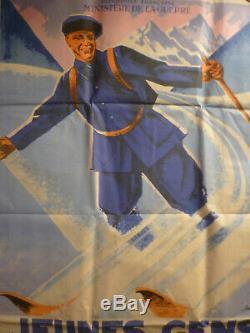 Rare affiche ski chasseurs Alpins Eric de Coulon vers 1920
