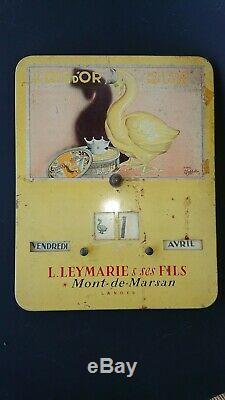 Rare calendrier en tôle publicitaire illustré par Cappiello, foie gras, Landes