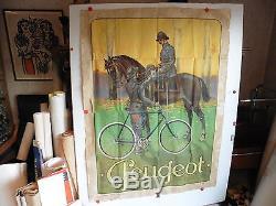 Rare grande affiche ancienne Peugeot cycle velo soldat a cheval WW1 guerre 14