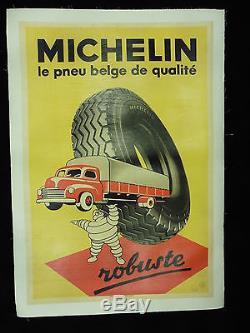 Rare grande affiche ancienne pneu Michelin Bibendum camion belge par Marci