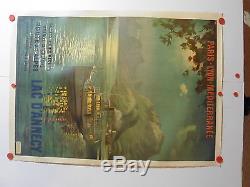 Rare grande affiche ancienne tourisme PLM Lac Annecy par Cachoud 1900
