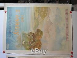 Rare grande affiche ancienne tourisme PLM Lac Annecy par Tanconville 1900