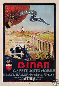 Rema Affiche Ancienne Dinan Gde Fete Automobile Rallye Ballon 1929