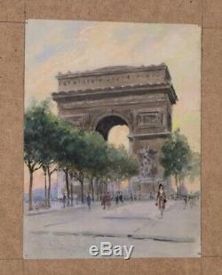 Rene PEAN AQUARELLE ARC DE TRIOMPHE PLACE ETOILE PARIS 30,8 X 24 CM
