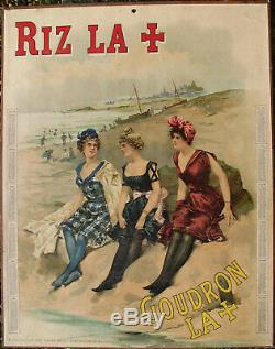 Riz La +. 1 X Carton Publicitaire. 1905. Format 36 X 46,5 Cm. Tres Bel Etat