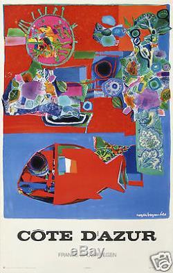 Roger Bezombes Affiche Ancienne 1972 Cote D'azur Spoorwegen / French Riviera