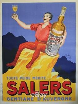 SALERS GENTIANE D'AUVERGNE Affiche originale entoilée Litho ROBYS 1935