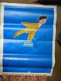 SAVIGNAC J'y vole donc j'y suis 1970 belle affiche AIR FRANCE originale
