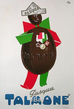 SEPO AFFICHE ANCIENNE PASQUA TALMONE CHOCOLAT VINTAGE CHOCOLATE POSTER ci 1950