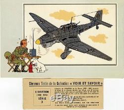 SERIE n°3 / 6 CHROMOS TINTIN L'AVIATION (1939-1945) Col. VOIR & SAVOIR / HERGE