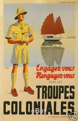 SOGNO AFFICHE ANCIENNE ENGAGEZ VOUS DANS LES TROUPES COLONIALES ci 1940-42