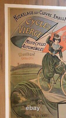 SUPERBE ET RARE AFFICHE ORIGINALE VELO ANCIEN CYCLES VIERGE à MONTBARD