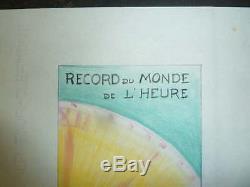 Superbe Projet D'affiche Record Castrol Pastel Andre Renaudin Original Violet