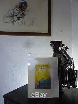 Superbe Projet D'affiche Record Castrol Pastel Andre Renaudin Rare Original Vert