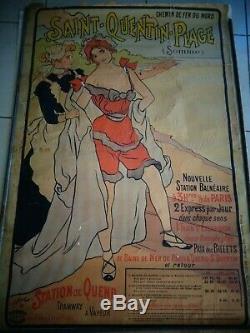 Saint Quentin Plage Affiche Ancienne Chemin De Fer Du Nord 1897 Somme