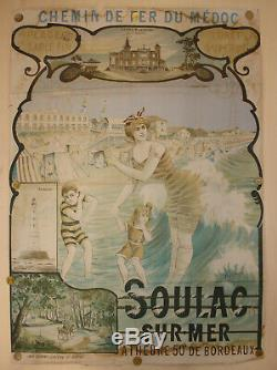 Soulac sur mer. Affiche ancienne. Chemin de fer du médoc