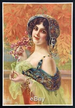 Superbe affiche Art-Nouveau Jeune Femme aux Bijoux de Gaspar Camps / 1900