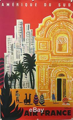 Superbe affiche litho originale AIR FRANCE Amérique du Sud par Villemot 1958