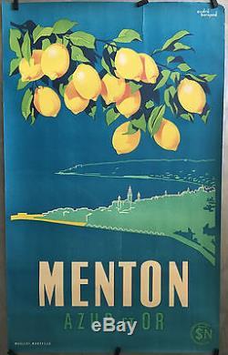 Superbe affiche litho originale MENTON Azur et Or vers 1940