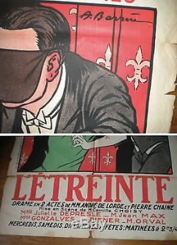 THEATRE DU GRAND GUIGNOL ADRIEN BARRERE L'ETREINTE 158 x 120 AFFICHE ORIGINALE