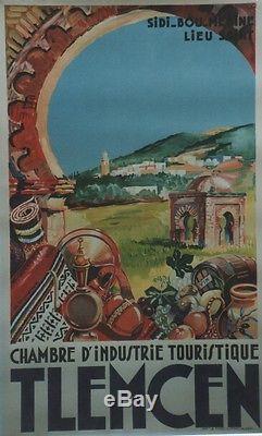TLEMCEN Affiche originale entoilée Litho G. VIGOUREUX 1949 66x104cm