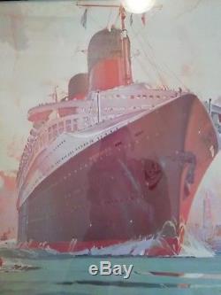 Tableau Compagnie générale transatlantique Paquebot NORMANDIE Marin Marie