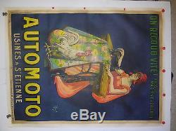 Tres rare affiche ancienne automoto par Mich machine a coudre