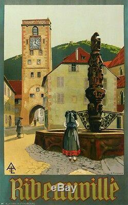 Troussard Ribeauville Alsace Affiche Ancienne Du Chemin Fer De L'est