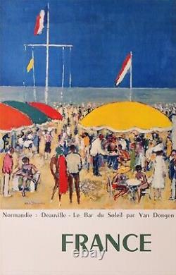 VAN DONGEN 1960 NORMANDIE DEAUVILLE LE BAR DU SOLEIL 98,5x63 CM AFFICHE ENTOILÉE