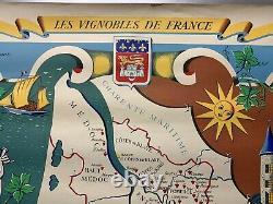 VINS de BORDEAUX les Vignobles de FRANCE Affiche Originale 1957 by Remy HETREAU
