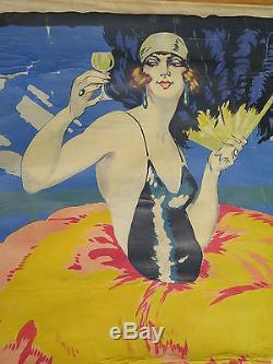 Véritable ancienne affiche bar bistrot FAP ANIS illustration femme anis pastis
