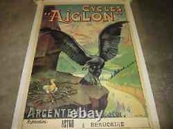 Vélo veritable ancien affiche litho entoilée marque AIGLON 1910 BON ETAT