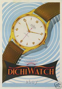 Vintage Italian Poster About Watches Dichiwatch Affiche Ancienne Montres 1953