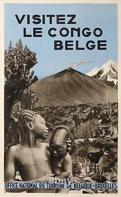 Visitez Le Congo Belge Federation Du Tourisme De Belgique Rare Affiche Ancienne