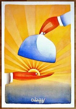 WAGONS LITS 1988 Jean-Michel FOLON Affiche 95 x 65 cm, Originale