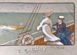 Yacht Club de France 1910 En Régates Gravure par Marcel Jacquier / Nautisme